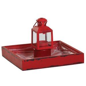 Mini lanterne avec plateau rouge