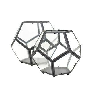 """Terrarium géométrique métal / verre 9x10½"""""""